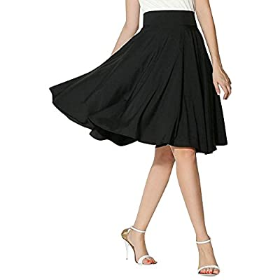 NREALY New Women's Solid Flared Retro Casual Knee Length Pleated Midi Office Work Skirt