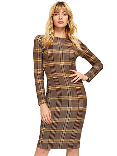 MakeMeChic Women's Elegant Long Sleeve Wear to Work Business Cocktail Pencil Dress Multi XL from MAKEMECHIC