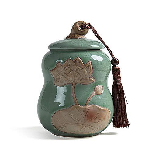 MUJING Lotus Pattern Ice Crack Glaze Pet Urn for Memorials - Small - Holds Up to 30 Cubic Inches of Ashes (Glaze Urn)
