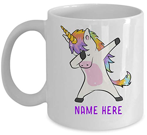 Personalized Unicorn Dabbing Coffee Mug FREE CUSTOMIZATION with your NAME