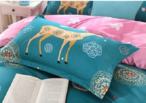 KFZ Deer Floral Blue Bed Set Bedding Set Twin Set Size Blue Elk Woodland 3 Pieces: Duvet Cover, Flat Sheet, Pillow Case Modern Design Sheet Sets No Comforter Softest Microfiber
