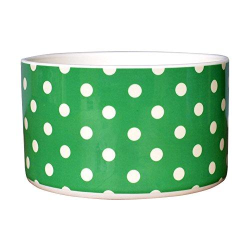 Lovely Porcelain Polka Dot Round Rice Bowl Small Cereal Bowl Ceramic Soup Bowl Salad Bowl Dessert Bowl Pasta Bowls Noodle Bowl Dinner Serving Bowl for Eating,Cooking,Kitchen,Green