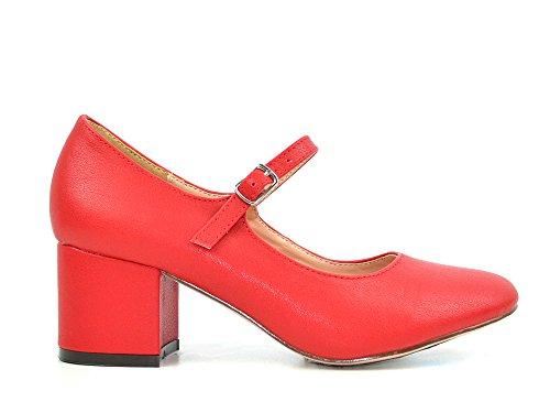Chale & Chloe Brandi-1 Mujeres Chunky Block Heel Con Mary Janes Correa Bomba Zapatos Red Pu