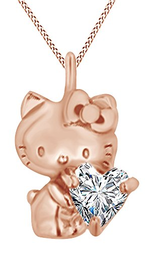 - AFFY Heart Cut Cubic Zirconia Hello Kitty Charm Pendant Necklace in 14K Rose Gold Over Sterling Silver