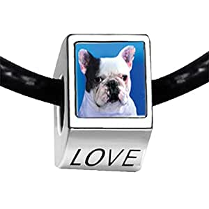 Chicforest Silver Plated Bull Dog Photo LOVE Charm Beads Fits Pandora Charm