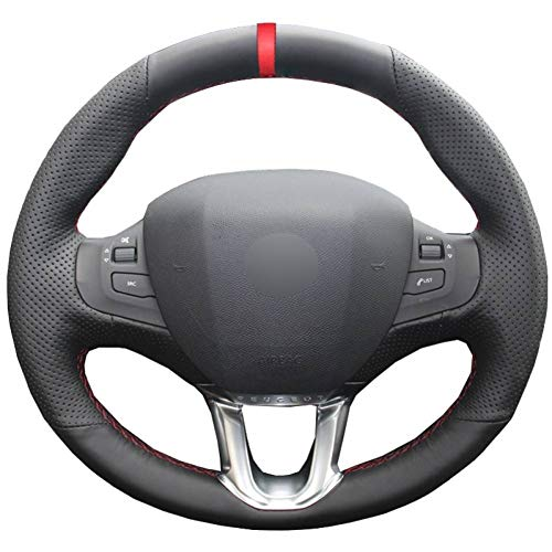 OPOPDLSA Hand Sewing Car Steering Wheel Cover Wear-resistant Red Marker For Peugeot 208 Peugeot 2008 Steering-wheel Auto Accessorie: