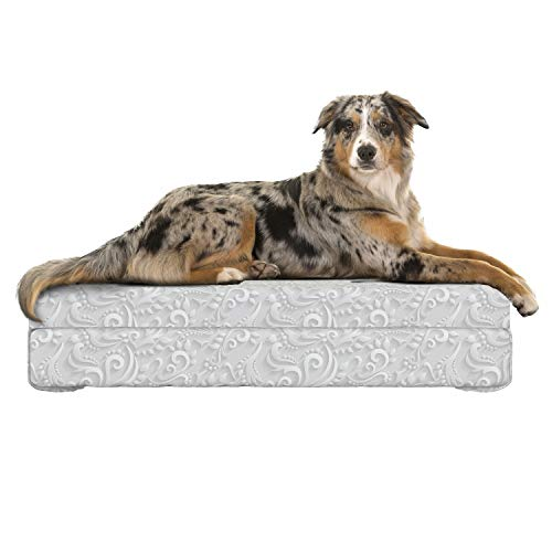Lunarable Victorian Dog Bed, 3 Dimensional Effect Monochrome Abstract Flower Flourish Pattern Wedding Theme, Dog Pillow with High Resilience Visco Foam for Pets, 32