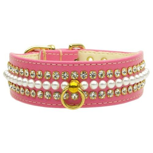 Mirage Pet Products Mini Pearl Pet Collar, Size 14, Pink