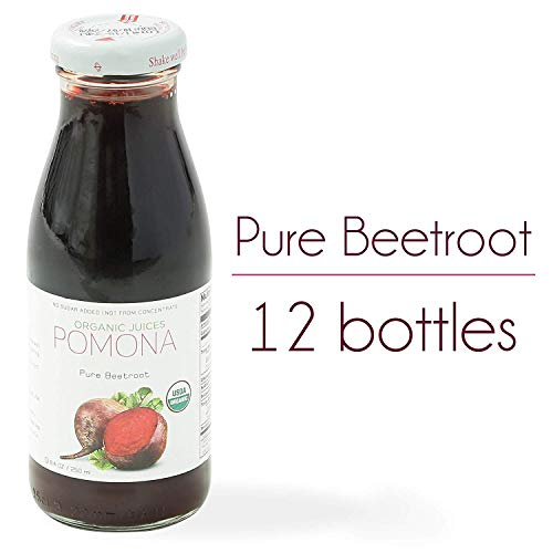 (POMONA Organic Pure Beet Juice, 8.4 Ounce Bottle (Pack of 12), Cold Pressed Organic Juice, Non-GMO, No Sugar Added, Not from Concentrate, Gluten Free, Kosher Certified, Preservative Free)