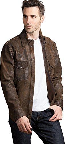 Suede Shirt Jacket (Overland Sheepskin Co. Shane Goatskin Suede Leather Western Shirt Jacket, Distressed Rust, Size XXLarge (48-50))