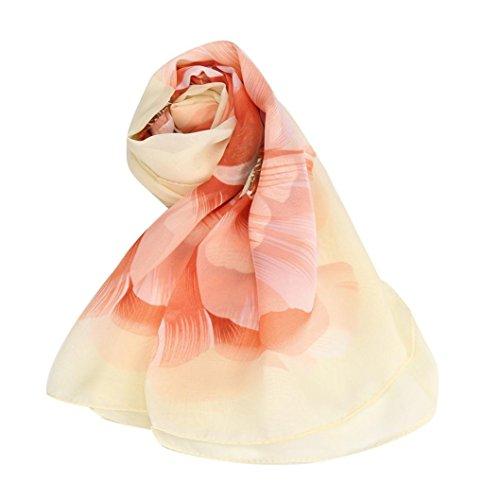 di stampa Sciarpe di elegante Adeshop delle elegante giallo Sciarpa seta donne chiffon sole dell'involucro di di protezione di leggero scialle Morbida EvqPqw07x