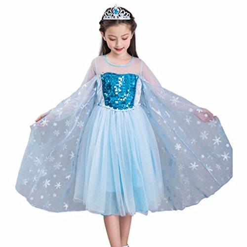 Girls Princess Costume Sequined Elsa Party Dress UP Blue -
