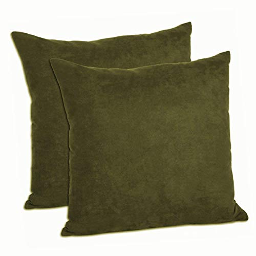 Lilymelotextile Set of 2 Faux Suede Decorative Throw Pillow Shams Cushion Covers Pillow Cases (Olive Brown, 18
