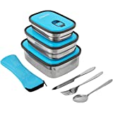 Stainless Steel Lunch Box Set-Leak Proof, BPA Free 3 in 1 Food Containers