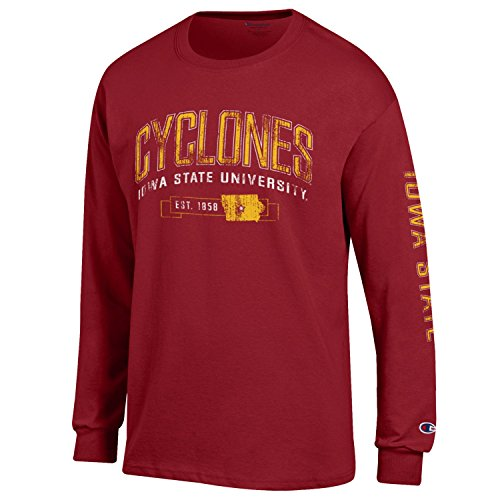 (NCAA Champion Men's Fair Catch Long Sleeve T-Shirt, Iowa State Cyclones, X-Large)