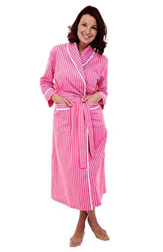 Alexander Del Rossa Women's Lightweight Cotton Kimono Robe, Summer Bathrobe, Small Pink with White Stripes (A0515Q11SM)