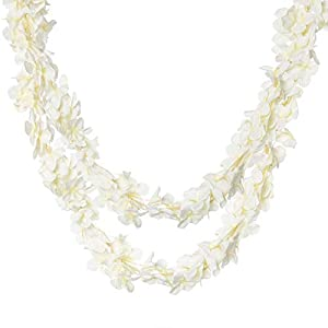 """Royal Imports Wisteria Orchid Lei Flower Garland Vine Artificial Fake Silk 2 Pk. of 80"""" ea. for Weddings, Valentines, Wreaths, Faux Hanging Party Décor, White 12"""