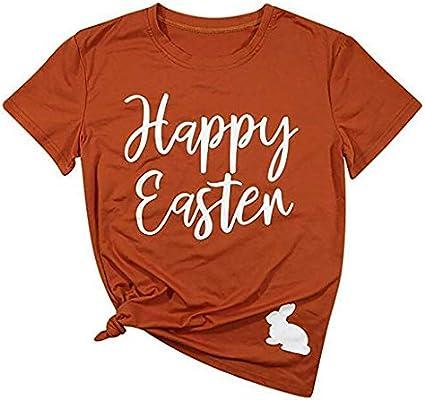 Happy eastr Ladies Print Short-Sleeved T-Shirt top