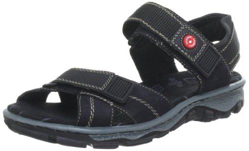 Rieker 68851 - Sandalias de cuero para mujer Negro (Schwarz/schwarz)