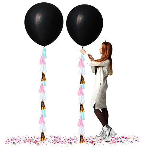 Treasures Gifted Baby Gender Reveal Party Supplies 36 Inch Black Confetti Balloons for Boy or Girl Neutral Decor Kits with Pink Blue and Gold Decorations