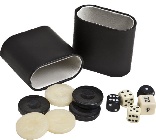 """Venus Deluxe Marbleized Pearl Type Backgammon Checkers from Greece, Dice & Two Dice Cups -Black/Ivory 1 7/16"""""""