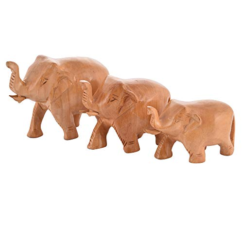 ANJANIYA Wooden Elephant Statues Set of 3 - Trunk Up Elephant Figurines Ornament Living Room/Table Top/Housewarming Gifts/Home Decor Accessory (Wooden Figurine Elephant)