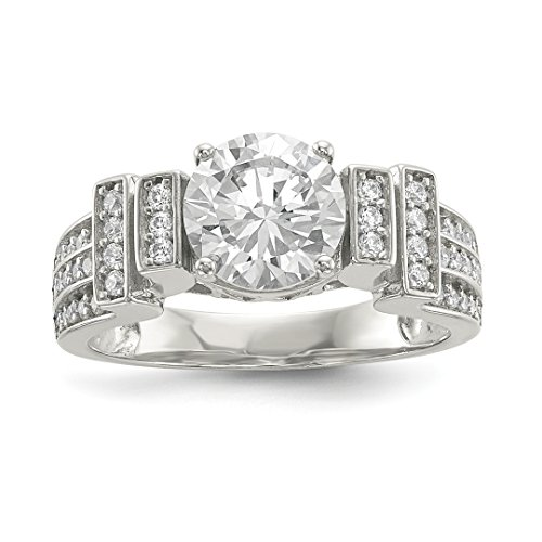 (925 Sterling Silver Cubic Zirconia Cz Tiered Band Ring Size 8.00 Fine Jewelry Gifts For Women For Her)