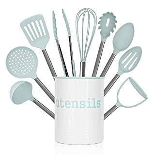 Country Kitchen 10 Piece Nylon Cooking Utensil Set with Holder, Kitchen Tools and Gadgets with Rounded Gunmetal Handles - Mint