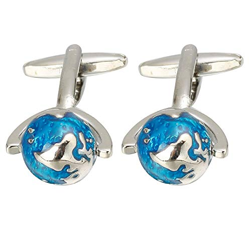 Globe Cufflinks | Fashion Design Silver with Blue Enamel Color World Map Shape | Quality Copper Material | Best Gift for Mens ()