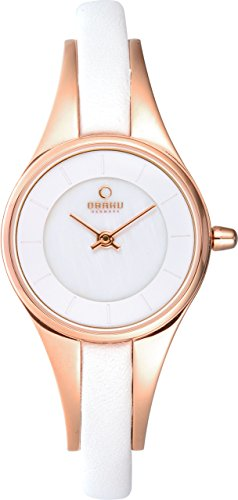 Obaku Denmark Womens V110LXVWRW Rose Gold Case White Leather Strap Watch