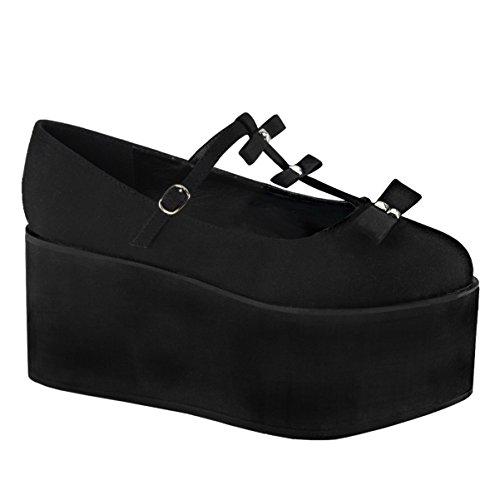 Chaussures De Toile Noires De Summitfashions Womens Arcs Goujons T Plateforme Plate-forme Chaussures Plate-forme De 3 1/4 Pouces