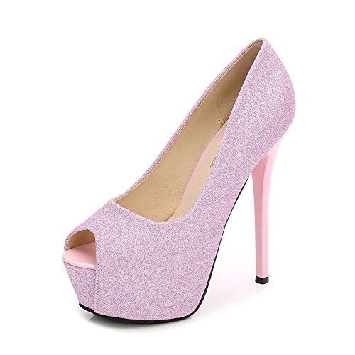 Night Alto KPHY Tacco Scarpa Pink Femminile Bocca Impermeabili Superficiale Della Piattaforma Sola Tallone Super Scarpe Bocca Primavera Club 14Cm Di Pesce xIfXZx