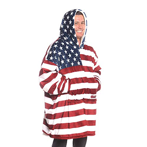 THE COMFY | The Original Oversized Sherpa Blanket Sweatshirt, Seen On Shark Tank, One Size Fits All (Red White And Blue Flag With One Star)