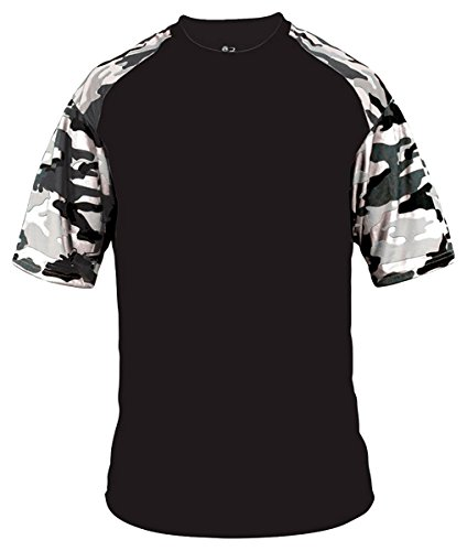 Badger Adult Camo Sport Tee - 4141 - Black/White Camouflage BD4141 M