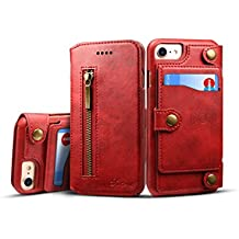 iPhone 6 Plus/7P Case Leather,TACOO Zipper Credit Card Business Card Holder Money Slot Slim Soft Fashion Removable Protective Wallet Phone Cover Shell for Apple iPhone 8 Plus/6S Plus/ 7 Plus