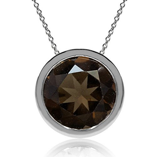 - 2.02ct. Natural Smoky Quartz 925 Sterling Silver Floating Solitaire Pendant w/Chain Necklace