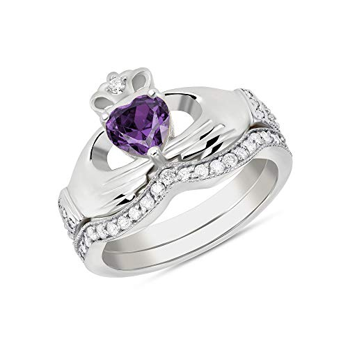 CaliRoseJewelry Sterling Silver Irish Claddagh Birthstone Ring Set February (Size 8)
