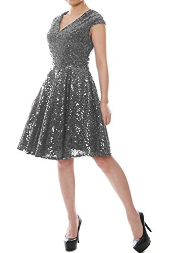 Sleeve Women Macloth Gray Party Bridesmaid Dress Neck Sequin Formal Cap Short Gown V Up1AxnpEqw
