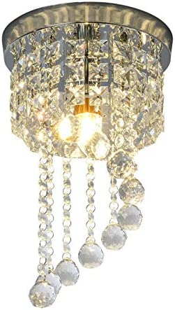 Mini Crystal Chandeliers Light Modern Flush Mount Crystal Ceiling Light Pendant Light for Bedroom Hallway Kitchen Dining Room 7.87 inch