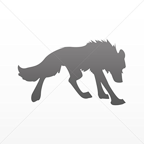 Wolves Various sizes Decal Wolf Figure Decor Motorbike Bicycle Vehicle ATV Racing Gray Dark (4 X 2.46 Inches)