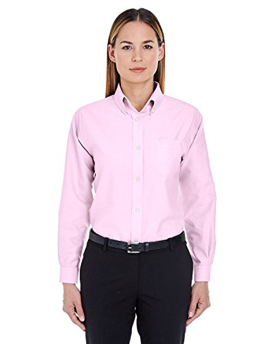 UltraClub Women's Classic Wrinkle-Free Long Sleeve Oxford Shirt, Pink, XX-Large