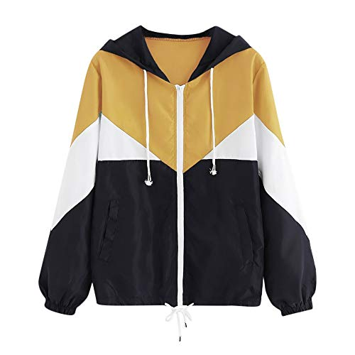iYBUIA 2018 New Summer Women Long Sleeve Patchwork Thin Skinsuits Hooded Zipper Pockets Sport Coat (L, X-Yellow)