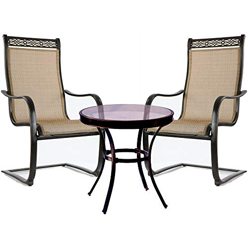 Hanover Monaco 3 Piece Bistro Set with Spring Sling Chairs