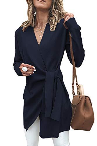 Manches Cou Taille V Cravate Tops Survêtement Femmes Bleu À Manteau Longues U1xwZXWEq
