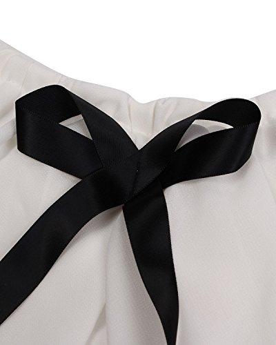 ZANZEA Blusa Camiseta Casual Elegante Oficina Cóctel Playa Chiffón Lazo Hombros Caídos para Mujer Blanco