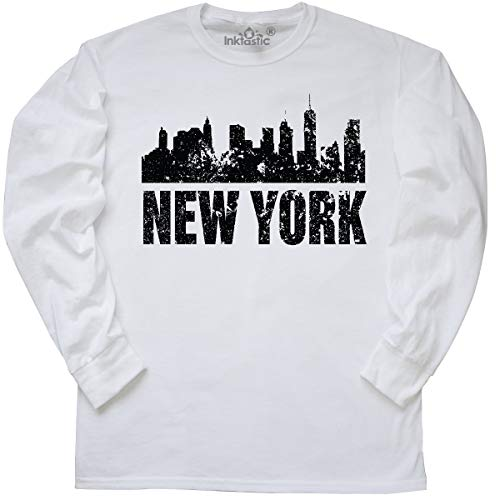 inktastic - New York Skyline Grunge Long Sleeve T-Shirt Large White 355ed