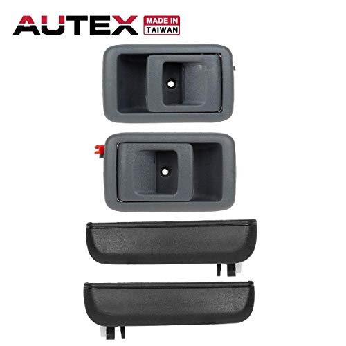 AUTEX 4pcs Interior Exterior Door Handles Front Rear Left Right Compatible with 1995 1996 1997 1998 1999 Toyota Tercel Door Handles Driver Passenger Side 77651 77786 RH LH ()