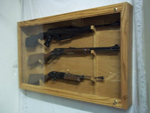 Oak Gun Cabinet - 3 Gun Wooden Locking Display Case - Red Oak with Golden Oak Finish