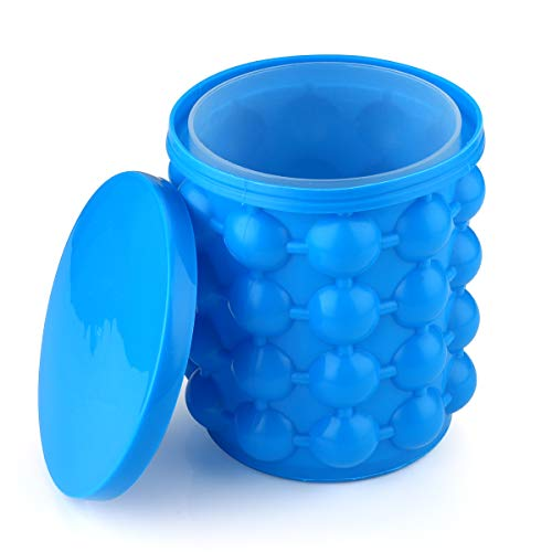 (Ice Cube Maker silicone Trays Molds,silicone ice bucket of the Revolutionary Space Saving Ice Cube Maker,cube barrel, Dual-Chamber, For Chilling Burbon Whiskey,Cocktail,Beverages)