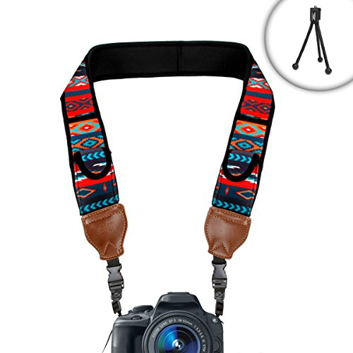 TrueSHOT DSLR Camera Shoulder Neck Strap with Aztech Neoprene Design and Accessory Pockets by USA Gear - Works with Samsung NX3300 , NX500 , WB2200F and More Cameras
